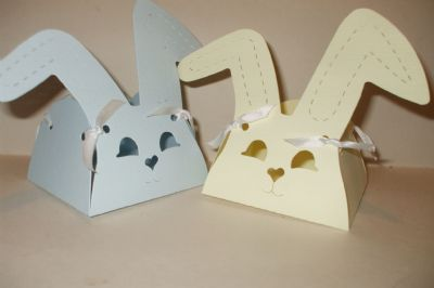Bunny Rabbit Favour Box Pale Blue or Lemon Hammered Card